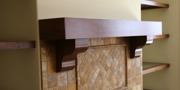 Rustic Alder Mantel and Floating Shelves Photo