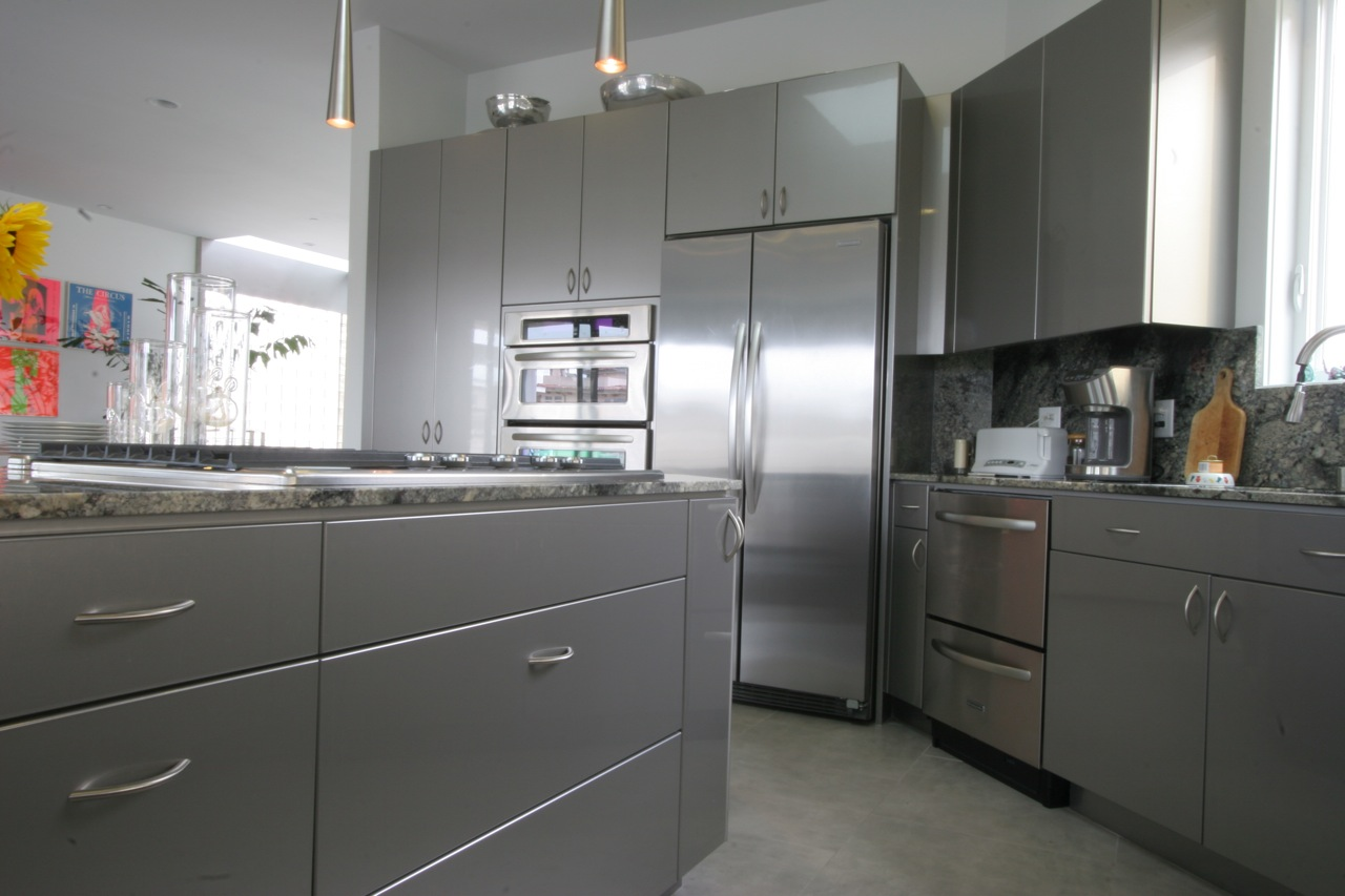 High gloss silver cabinets w l rubottom cabinets co for Cabinetry kitchen cabinets